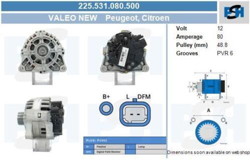 Valeo Lichtmaschine 225.531.080.500 CITROËN PEUGEOT CITROËN PEUGEOT