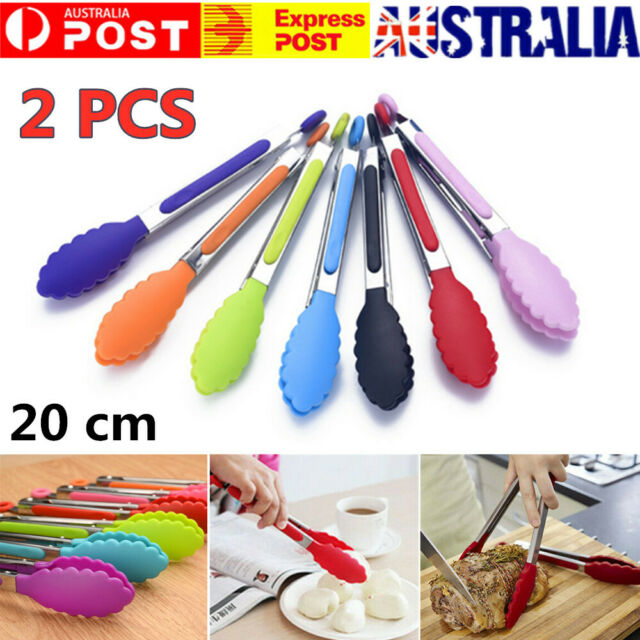 2X Silicone Salad Serving Tongs Kitchen Cooking Food Clip Stainless Steel Handle