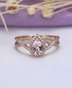 1-50Ct-Pear-Cut-Morganite-Halo-Diamond-Engagement-Ring-14K-Rose-Gold-Over