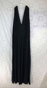 Dress-3x-Maxi-Full-Length-Black-Sexy-Deep-V-Neck-Back-Sleeveless-42-034-Fitted