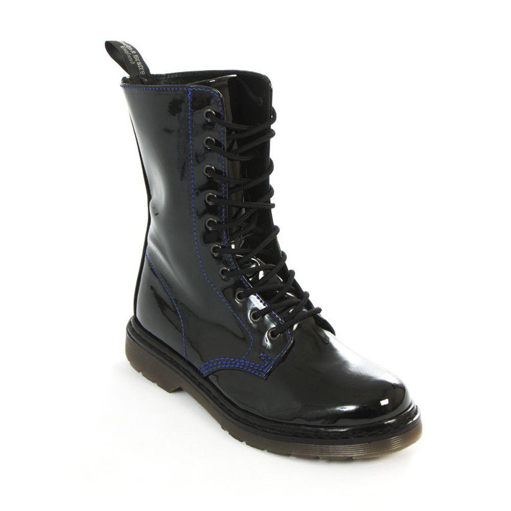 Stiefel & Braces 10-Loch Lackstiefel Blau Patent-GOTHIC-WGT-Club-Festival-NEU!!!