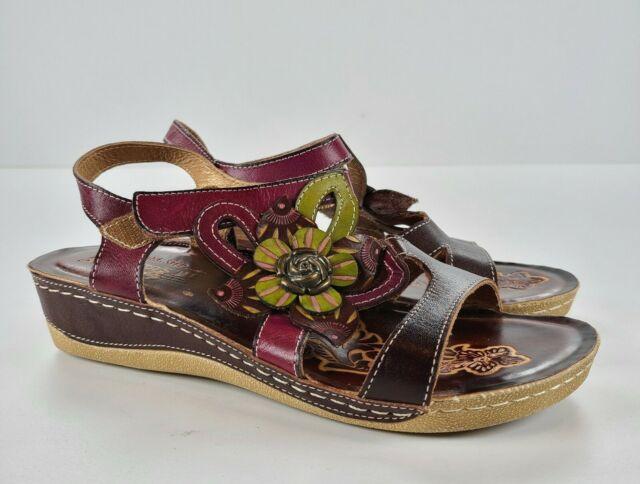 Spring Step L'Artiste Women's 38 US 7.5-8 Pelagia Wedge Sandals Shoes EUC Floral