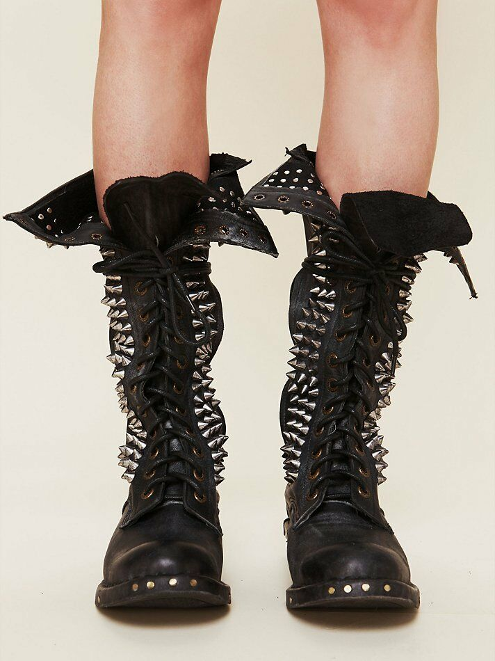 Women's Punk Real Leather Knee High Rivet Studs Boots Motor Black Lace Up shoes
