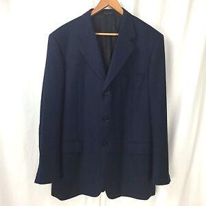 revendeur 24d00 a9433 Details about Balenciaga Pour Homme Blue Black Herringbone 3 Btn Wool  Blazer Jacket US 46/48R