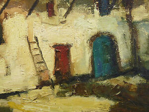Antique-Oil-on-Canvas-Signature-Landscape-Parts-of-Farm-Building-Countryside