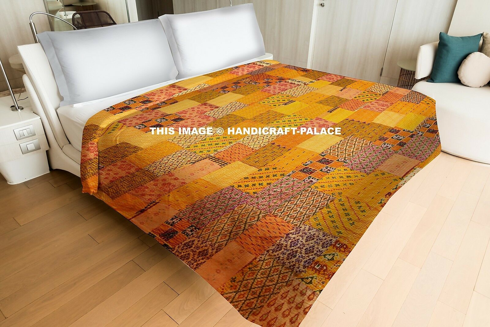Indian Silk Patch Double Tapestry kantha Stitched Quilt Bettspread Blanket Quilt