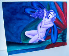 LP17 (F3) Lovely Fantasy Outsider Art Painting Purple Glow Fairy Signed Dana