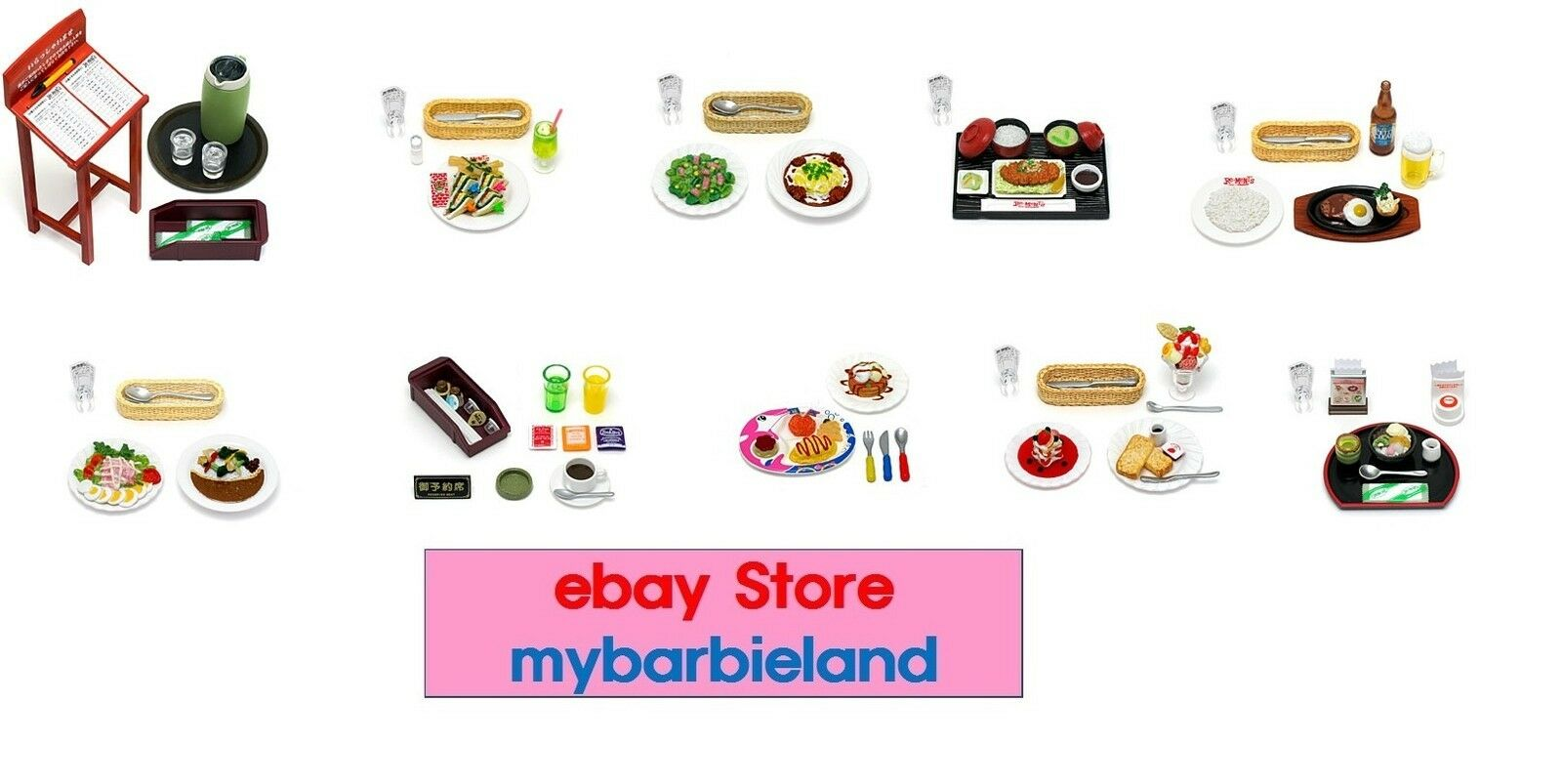 Re-ment Full Set of 10 FAMILY RESTAURANT Barbie Dimensione Miniature Food VHTF RARE