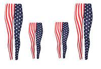 MOTHER & DAUGHTER USA AMERICAN FLAG LEGGINGS STARS & STRIPES WOMENS LADIES GIRLS