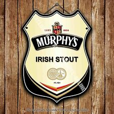 Murphy's Irish Stout Beer Advertising Bar Pub Metal Pump Badge Shield Steel Sign