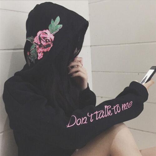 Women Plus Size Flowers Long Sleeve Pullover Sweatshirts Hooded Harajuku MW