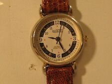 VINTAGE QUINTEL ONE JEWEL MOON-PHASE WOMAN'S WATCH/GOOD COND/NEW BATT/SWISS PRTS