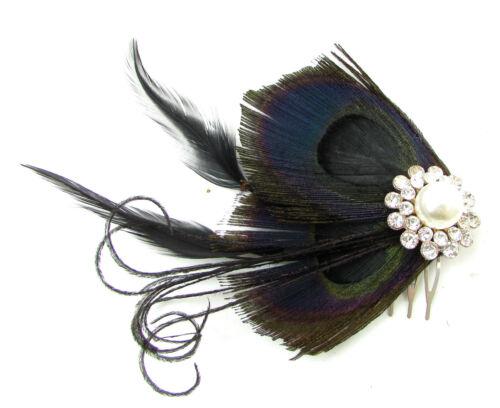 Noir argent plume de paon strass cheveux peigne fascinator 1920s à clapet 30s A86