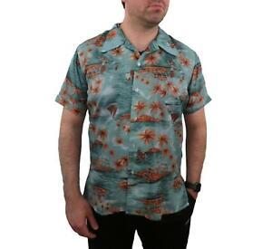 Vintage-70s-ALOHA-Men-039-s-Hawaiian-Shirt-XL-Large-Pirates-Floral-Camp-Palm-Trees