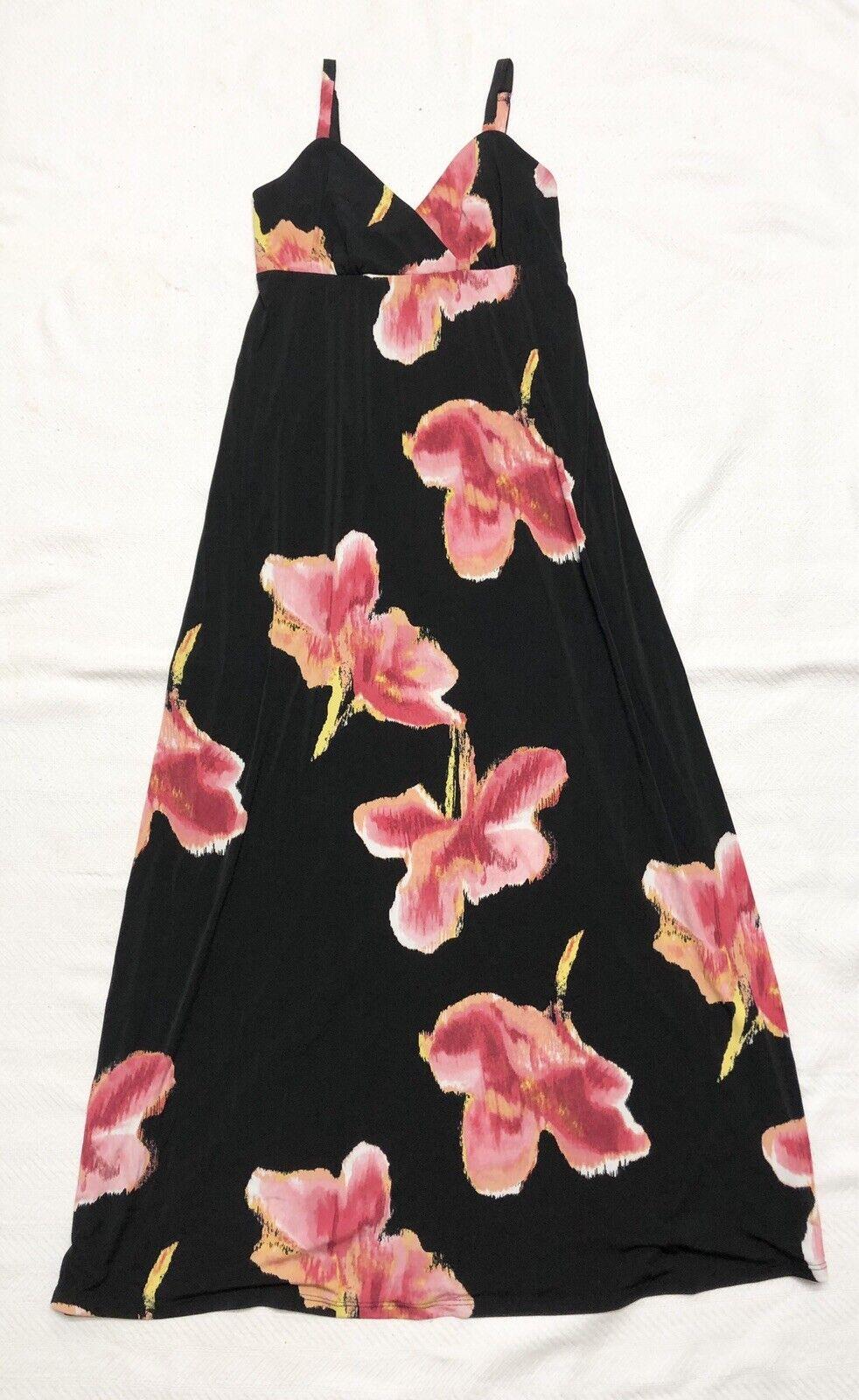 Gorgeous schwarz Maxi Dress With WaterFarbe Flowers Sz S NWOT