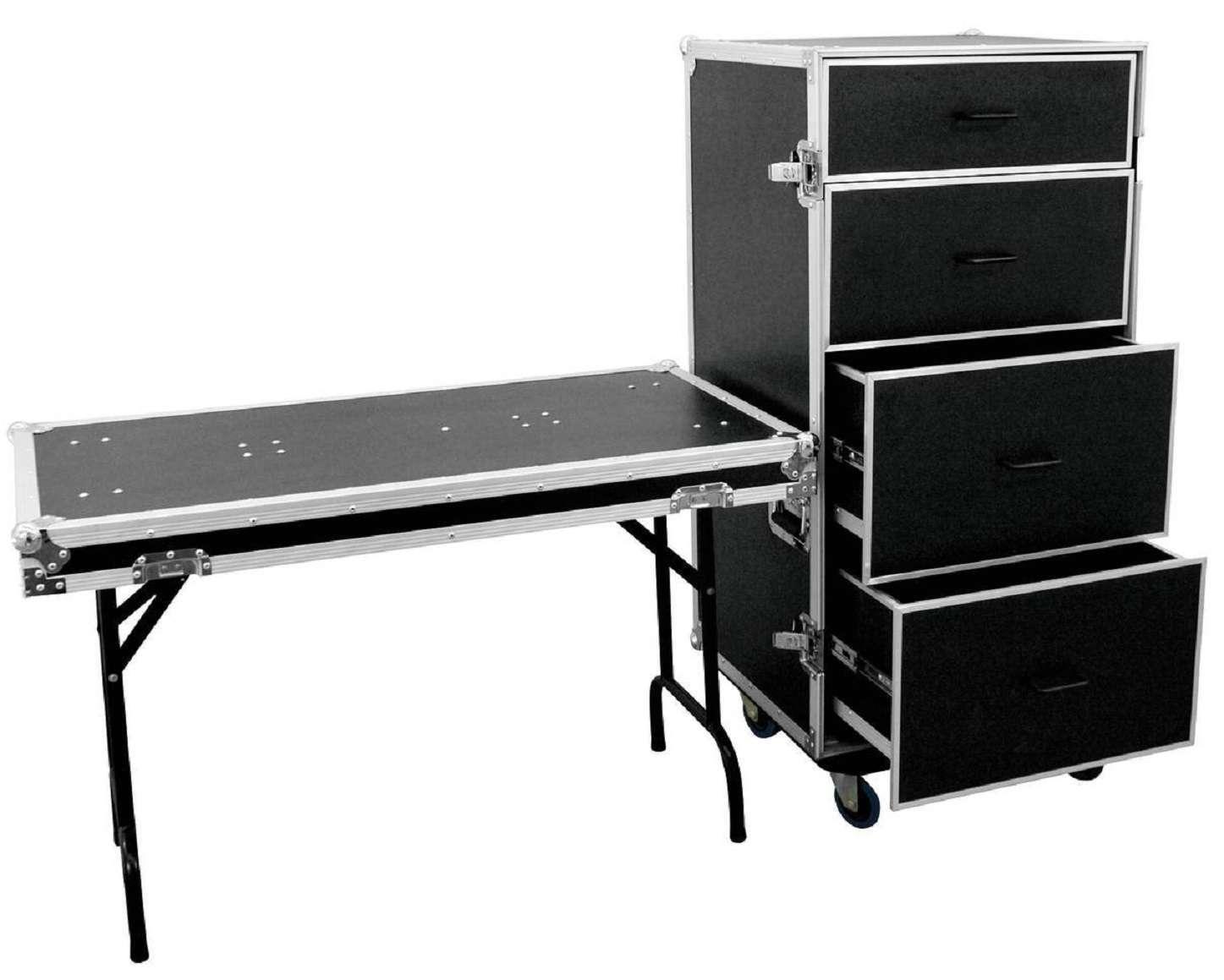 Schubladencase FD-1 mit Tisch, Transportcase Werkzeugwagen Roadiecase Flightcase