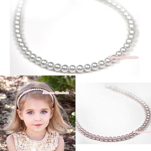 Elegant Pearl Light Pink White Headband for Party Wedding Girls Kids Children