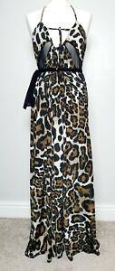 TG-Maxi-Dress-UK-Size-12-Cat-Leopard-Animal-Print-Sexy-Sheer-Cut-Out-Panels