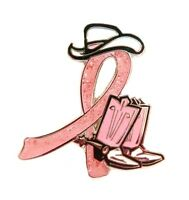 Breast Cancer Lapel Pin Cowgirl Cowboy Western Boots Hat Pink Glitter Ribbon