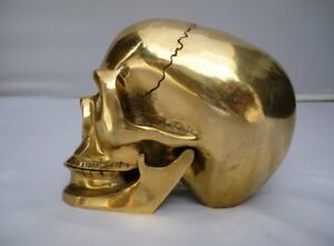 Old-Chinese-Brass-Crafted-Human-Skull-Skeleton-human-head-Statue-Sculpture