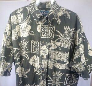Big-Dog-Mens-XL-Hawaiian-Shirt-Green-Short-Sleeve-Aloha-Camp-Resortwear-Cotton