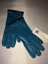 NEW Portolano Woman Leather Gloves w 100% Silk Lining Turquois Color Size 6.5
