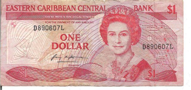 EAST CARIBBEAN STATES, $1 ,QEII, ND(1988-89)