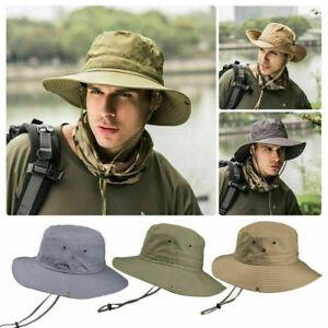 Mans Mens Sun Shade Summer Wide Brim Bucket Cargo Floppy Hat Olive Green Khaki