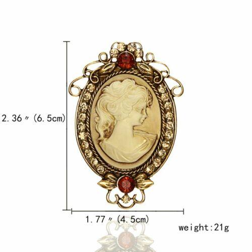 Cameo Queen Flower Beauty Head Crystal Vintage Brooch Pin Wedding Womens Retro
