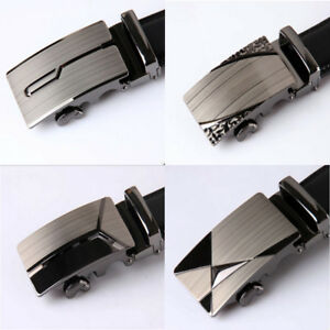 Men-039-s-Fashion-Automatic-Belt-Buckle-Luxury-Leather-NO-Waist-Strap-Waistband