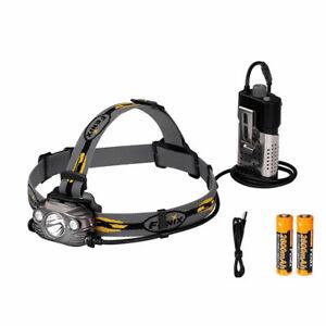 18650 Fenix HM65R USB carga LED Linterna de cabeza 1400LM Faro Spot Flood Luz