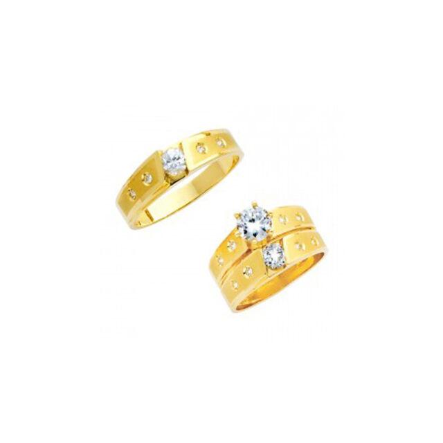 14K Yellow Gold Round Cut Simulated Diamond Trio Wedding Band Bridal Ring Set