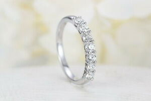 0 56ct Round Cut Moissanite Wedding Band Ring 14k Solid White Gold