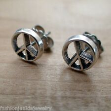 Peace Sign Post Earrings - 925 Sterling Silver - NEW Studs Peace Hippy Love