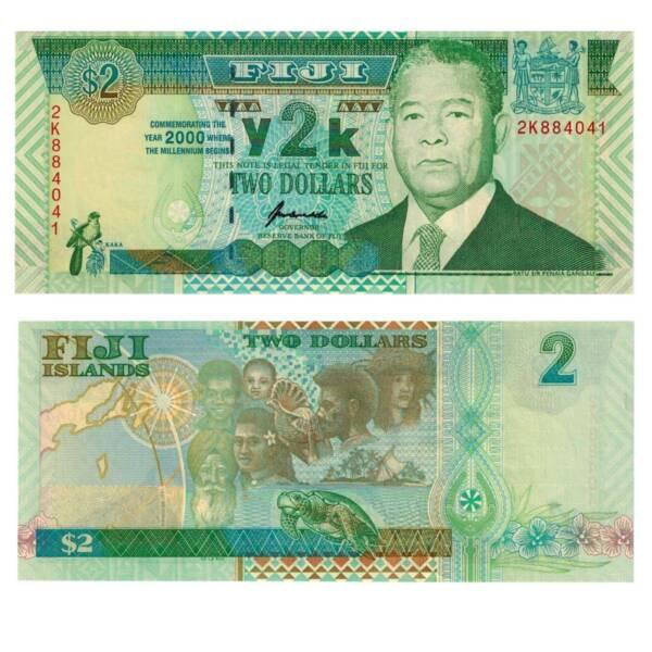 DéLicieux Pick 102a Fidji 2 Dollars 2000 Unc. 4424581vvv