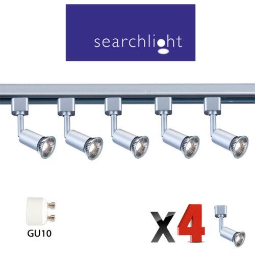 SEARCHLIGHT TRACK LIGHTING SPOTLIGHTS 4 X SPOTS 50 WATT HALOGEN MODERN SILVER