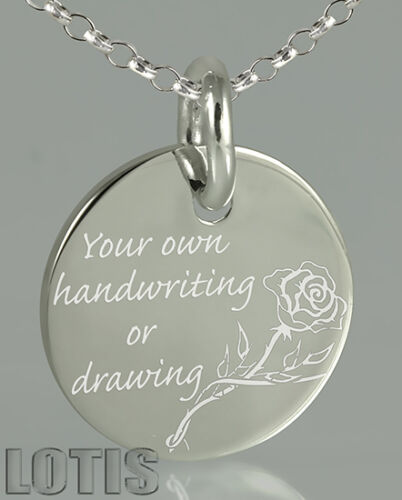 925 Sterling Silver Your Handwriting Engraved Personalized Cus Pendant