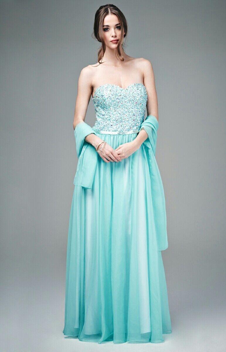 Designer abito verde menta senza spalline Abito da Sera Crystal Bling da Sera Gala Ball