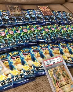 10 XY EVOLUTIONS Booster Packs Lot Sealed - Pokemon TCG Cards - Sleeves Included