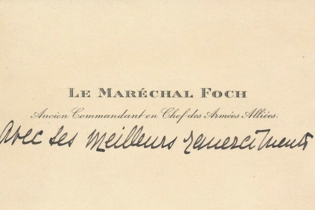 Calling Card with Handwriting of French General Ferdinand Foch