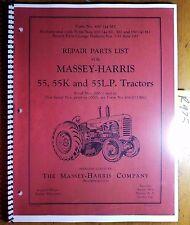 Massey Harris 55 55k 55lp Tractor Sn 10001 Repair Parts List Manual 690 144 M3