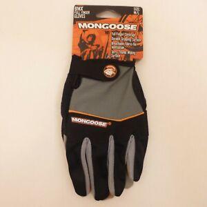 Mongoose Adult Medium Full-Finger Black Padded BMX Mountain Bike Bicycle Gloves