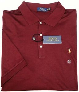 NEW-98-Polo-Ralph-Lauren-Short-Sleeve-Burgundy-Red-Shirt-Mens-Tall-NWT-Cotton