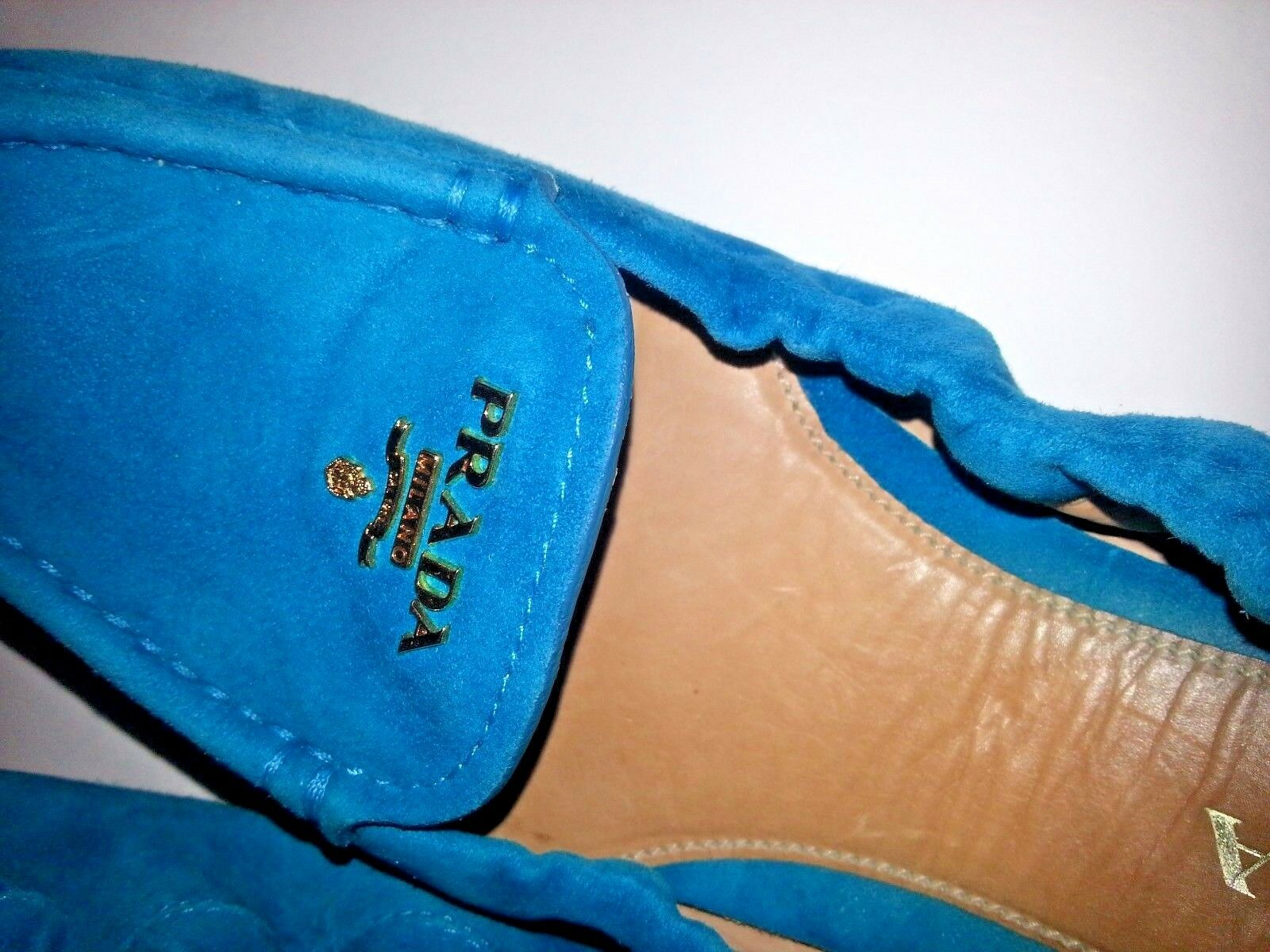 Prada Women's Logo Suede Driving Moccasin Loafer Flat Flat Flat shoes Drivers bluee 38 8 US 388095
