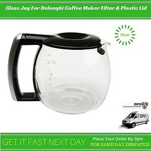 Replacement Glass Jug For Delonghi Coffee Maker Filter & Plastic Lid 7332183700 eBay