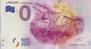 BILLET-0-EURO-LASCAUX-LE-GRAND-TAUREAU-FRANCE-2016-NUMERO-1900