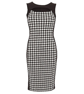 New Black and White Dog Tooth Cut Out Keyhole Pencil Dress
