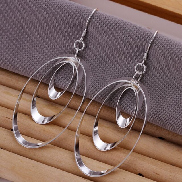 New Women 925 Sterling Silver Plated Fashion Three Oval Dangle Earrings Jewelry