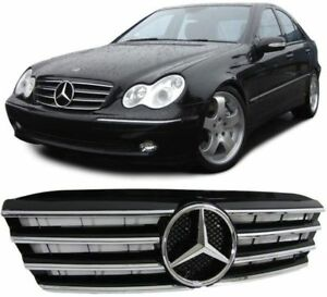 CALANDRE-MERCEDES-CLASSE-C-W203-BERLINE-NOIR-BRILLANT-CHROME-LOOK-CL