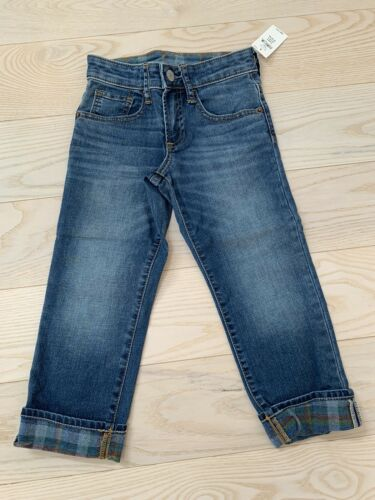 NEW GAP Kids Toddler Boys Plaid-Lined Straight Jeans With Stretch Size 5 Years